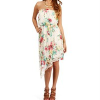 IvoryCoral Asymmetric Floral Dress