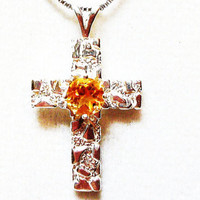 "Citrine cross nugget  pendant w chain  ""Little Brother"""