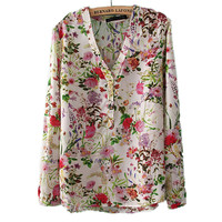 Collarless Vintage flowers Long Sleeve Shirt
