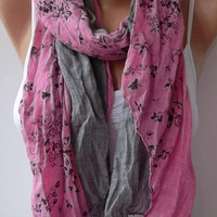 Scarf - Cotton -Elegant Scarf Cotton Scarf - Gray/pink