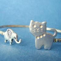 Cat and elephant bracelet wrap style