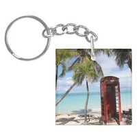 Red public Telephone Booth on Antigua Acrylic Keychains from Zazzle.com