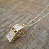 Gold Rhinestone Whistle Necklace | Candy's Cottage