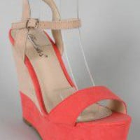 Breckelle Haley-01 Two Tone Platform Wedge