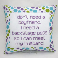 Funny Cross Stitch Pillow, Blue Green And Purple Pillow, Boyfriend Quote