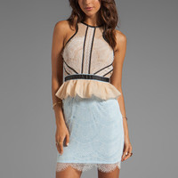Three Floor Forget Me Not Dress in White/Duck Egg Blue from REVOLVEclothing.com