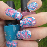 Bubble Gum Pink Blue &amp; White Marbled Nail Art Set by emineegoods