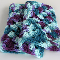 Granny Square Cotton XLarge Washcloths, Teal Purple Set of 2