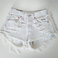 "ALL SIZES ""ICE"" Vintage Levi high-waisted denim shorts white distressed frayed jeans"