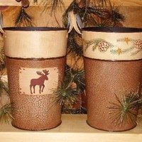 Rusty Moose and Pinecone Buckets