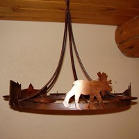 Candle Wildlife Chandelier  ~ Moose / Bear / Fish