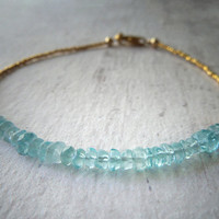 Blue Apatite Bracelet with 24K Gold Vermeil Beads.  Delicate Handmade Jewelry