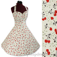 New Retro Cherries Vintage Style Halter Rockabilly Swing Pinup Dress
