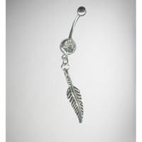 14 Gauge Silver Cubic Zirconia Leaf Single Banana