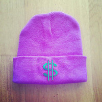 Purple dollar sign beanie 90s patch by CosmikDebrisClothing