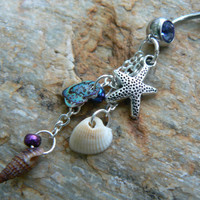 starfish belly ring  abalone seashells sand dollar charm in beach boho gypsy hippie belly dancer  beach hipster and fantasy style