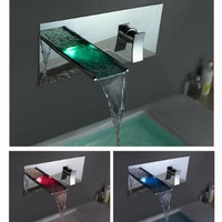 LightInTheBox Single Handle Wall Mount Waterfall Bathroom Sink Faucet with Build-in LED Lights, Chrome:Amazon:Home Improvement