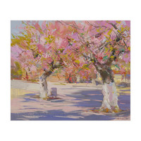 Sakura trees art print canvas art - pink abstract art of oil painting by Yuri Pysar