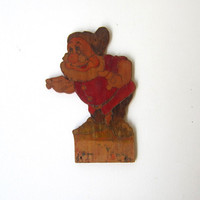 Vintage 1930s hand painted wood Disney Snow White Doc Dwarf plaque