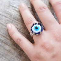 Evil Eye Ring Curious Eye Wiccan Jewelry