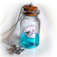 Polar bear on an iceberg bottle necklace, global warming awareness piece