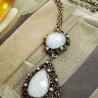 Vintage Gem Long Chain Pendant Necklace at Online Jewelry Store Gofavor
