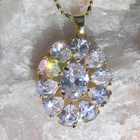 Clear White Crystal Oval Pendant - Vintage