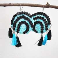 Tassel Earrings Black Turquoise Sequin Spiral felt