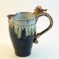 Seahorse Pitcher Inky Brown Milky White Large by skybirdarts