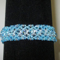 Bracelet with Swarovski Aquamarine AB Bicone Crystals 7.25in