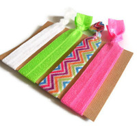 Elastic Hair Ties Neon Chevron Yoga Hair Bands