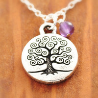 Tree of Life Necklace - family necklace, family tree, silver tree of life, sterling silver, tree necklace, amethyst necklace