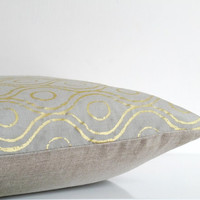 Metallic gold on silver gray silk throw pillow, Indian print on gray silk pillow, gold cushion cover