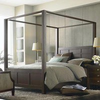 Sleek Linear Walnut Four Post Bed with Canopy