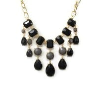 Black and Gray Gem Necklace