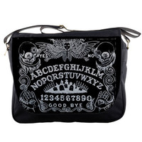 Gothic Ouija Board and other art messenger bags.