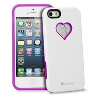 GreatShield RADIANT Series Heart Shape Valentines Day Case for Apple iPhone 5 (Purple & White)