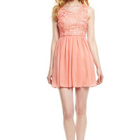 MINUET Peach Sleeveless Rosette Top Dress