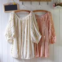 Fashionable Chic Sequins Embellished Cream Chiffon Top. Bling Top
