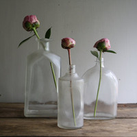 vintage glass bottle collection by littlebyrdvintage on Etsy