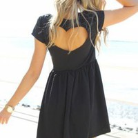 Black Heart Cutout Dress with Cap Sleeves&Gathered Waist