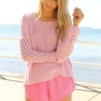 Rose Pink Long Sleeve Knit Sweater with Ribbed Detail