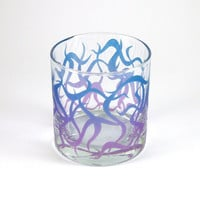 Low Ball Tumbler - Chaos Weave - Blue and Purple - Inlayed - Custom Painted Glassware