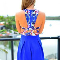 Blue Sleeveless Playsuit with Cutout High Neck Print Top