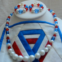 Pearls and Red White and Blue Necklace with by PattysDreamDesigns