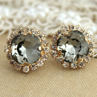 Smoky Gray Crystal Rhinestone stud Petite vintage earring - 14k 1 micron Thick plated gold post earrings real swarovski rhinestones .