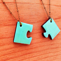 Mint Friendship Puzzle Necklace by YouNaturally on Etsy