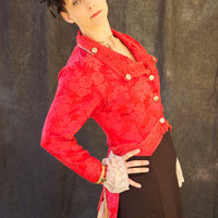 Red Brocade Steampunk Riding Jacket SZ 8