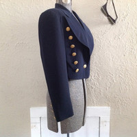 80's NAUTICAL JACKET/BLAZER navy blue with anchor button made in Germany