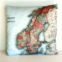 Decorative map cushion SWEDEN & NORWAY map Organic cotton map cushion pillow, cushion cover, 16 inch